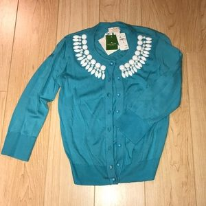 Kate Spade Turquoise Cardigan with Beading NWT